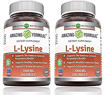 Amazing Formulas L-Lysine 1000mg Amino Acid Vitamin Tablets  Non-GMO,Gluten Free  - Commonly Used for Cold Sores Shingles Immune Support Respiratory Health & More  180 Count  Pack of 2