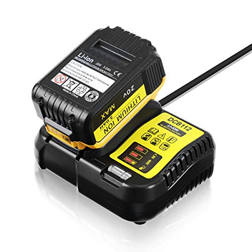 LANMU Charger for Dewalt DCB112 12V 20V MAX Lithium Ion Battery, Fits Models DCB115 DCB205 DCB204 DCB203 DCB201 DCB120 DCB101 and More (Battery Is Not Included)