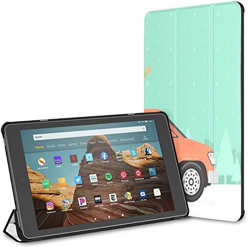 Funda para camioneta de coche de dibujos animados moda Fire Hd 10 Tablet (9ª/7ª generación, 2019/2017) Kindle Hard Case Hd 10 Kindle Fire Case Auto Wake/Sleep para tablet de 10.1 pulgadas