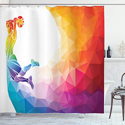 Ambesonne Basketball Shower Curtain, Rainbow Colored Theme...