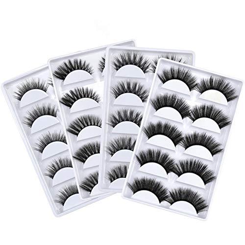 20 Paare Künstliche Wimpern, 3D Künstliche Mink Falsche Wimpern Natürlich Set für Makeup Wimpernverlängerung - 4 Pack