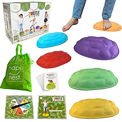 Hapinest Turtle Steps Balance Stepping Stones Obstacle Course Coordination Game for Kids - Indoor or Outdoor Play Equipment Toys Toddler Ages 3 Years and Up by Island Genius