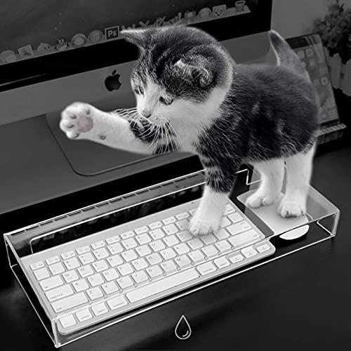 YWYW Cubierta acrílica Anti-Gatos para Soporte mecánico, Monitor de computadora y Soporte, Estante de exhibición Impermeable a Prueba de Polvo, para Suministros de Oficina en casa