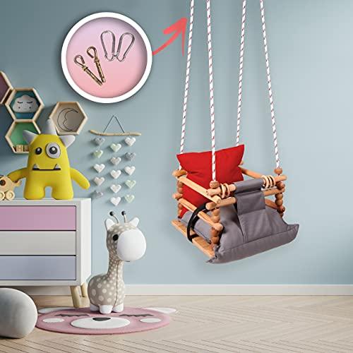 BOSPHORUS Babyschaukel Outdoor, Garten-Kinderschaukel Outdoor-Schaukel Indoor Kinder-Baby Swing Set, Baby Schaukel Holz Drinnen&Draußen-SICHERHEITSGURT-Schaukel Für Kinder (ROT-GRAU, Premium)