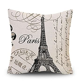Decor MI Black and Beige Love Paris Linen Square Throw Pillow Case Decorative Durable Eiffel Tower Throw Pillow Covers for Couch Sofa Bed Living Room Cushion Slip Cover 18x18 Inch