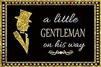 HD 7x5ftビニール写真の背景ベビーシャワーパーティーの背景黄金の言葉紳士の黒の背景画像男の子ベビーシャワーパーティーの装飾写真スタジオプロップ