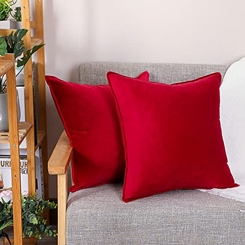 LDRHUY Federe per Cuscino Confezione da 2 Coperture Copricuscini Decorativi Fodere per Cuscino per Federe Cuscini Divano da Letto Casa (Rosso, 40x40cm)