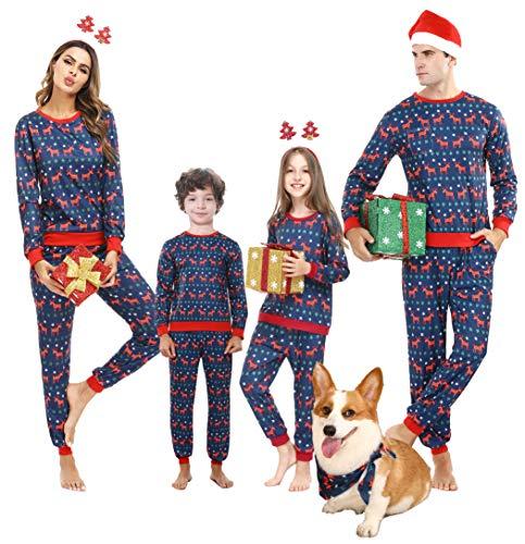 Weihnachten Schlafanzug Familie Pyjama Set Deer Schlafanzüge für Kinder 12 Navy Blau