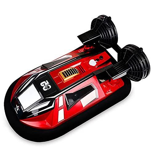 QHYZRV Velocidad 20 km/h, Barco de Control Remoto, aerodeslizador Anfibio, lancha rápida de Alta Velocidad de simulación, Juguetes eléctricos para niños de Agua de Verano, Adecuado para Piscinas y l