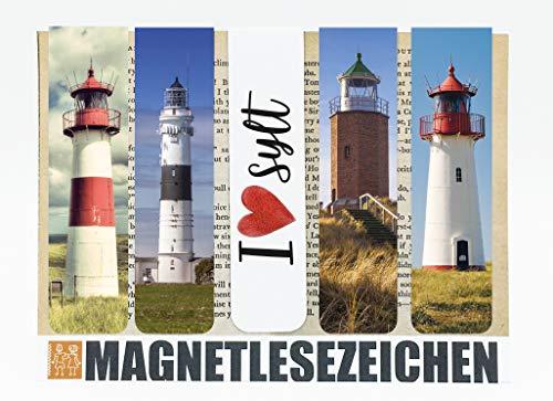 Geschenke Sylt Magnetische Lesezeichen 5 Stück 10 x 2,5 cm Schule Page Seiten Marker Book Marks Mitgebsel Nordsee Love-Sylt Leuchtturm Leuchttürme Maritim