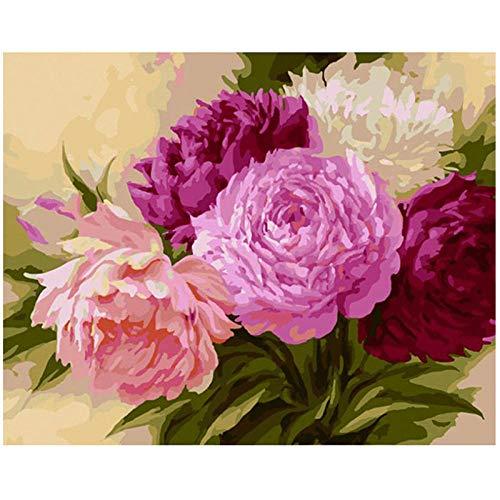 Wxswz olieverfschilderij landschapsschilderij om zelf te maken met cijfers op de onderkant nul bloemen handgeschilderd schilderij voor volwassenen kinderen thuisdecoratie 40 x 50 cm zonder lijst