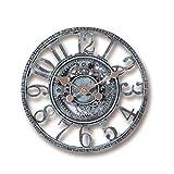 Creativem Reloj de Pared para jardín al Aire Libre, Adorno de jardín Vintage Impermeable, Reloj de Cara Abierta de 30 cm, Reloj Colgante con números Romanos y Engranajes Huecos