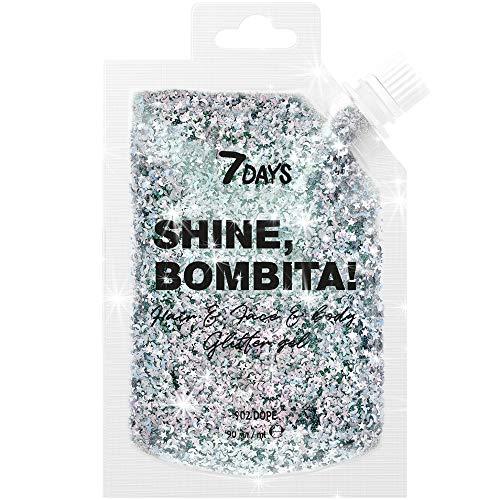Gel Brillante Dorado para el Pelo la Cara y el Cuerpo 1 Unidad Paquete Grande Glitter Lentejuelas de Sirena con Purpurina Larga Duración 50g   7DAYS
