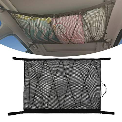 Frusde Gepäcknetz Auto für Aufbewahrung, Autodach Gepäcknetz Decke, Gepäcknetz Autodecke Dach Universal Netztasche für Autos Vier Dach Armlehnen, SUV, Jeep, Van (Netz-Kordelzuges)
