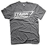 Photo de The Avengers Officiellement sous Licence Stark Industries Logo Hommes T-Shirt (Gris Foncé), X-Large