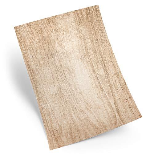 Logbuch-Verlag 100 Blatt Papier A5 Holz Optik Motivpapier Bastelpapier Druckerpapier vintage alt antik zum Basteln beschreibbar bedruckbar