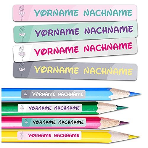 60 x Namensaufkleber Wunschname personalisiert je 4,5x0,6cm Aufkleber mit Kinder Name Beschriftung Schule Kindergarten Stifte Sticker (Nr. 13 Ballerina, Für schmale Oberflächen)
