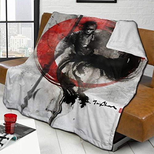 Samurai Manga Anime Pinturas blindadas para el sol Manta de tiro mixta, cálida, transpirable, tamaño doble, cómoda, de lana de cordero, manta de cama, colchas para sofá, cama, viajes, 80 x 60 pulgadas