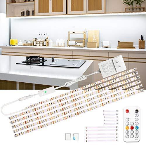 Wobsion LED Unterbauleuchte, 3m Weiß LED Streifen, SchrankLicht Küchenbeleuchtung, Helle Lichtleiste mit Drahtlose Fernbedienung, 6X50cm LED Strip Dimmbar, 6000K LED Band 1500 lm Küchenlampe