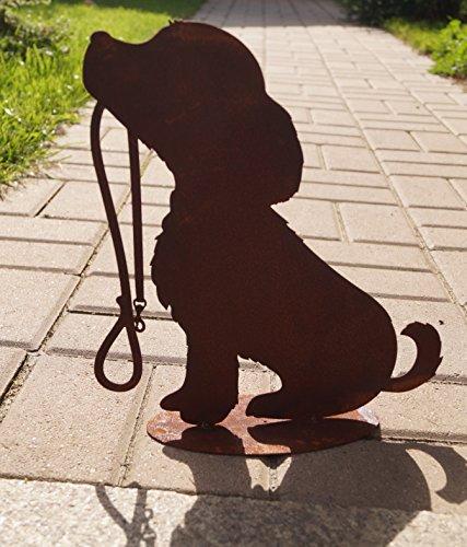 BADEKO Edelrost Hund sitzend mit Leine auf Bodenplatte Gartendekoration