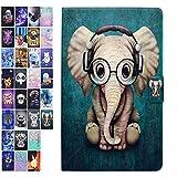 ANCASE Tablet Hülle kompatibel für Apple iPad 9.7 Zoll 2018 2017 Air 2 Air Hülle Case Leder Tasche Muster Schutzhülle Flip Cover mit Kartenfach - Elefant