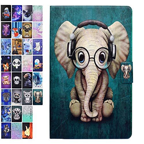 Ancase Tablet Hülle kompatibel für Samsung Galaxy Tab 3 10.1 Zoll GT-P5210 P5200 P5220 Hülle Case Leder Tasche Muster Schutzhülle Flip Cover mit Kartenfach - Elefant