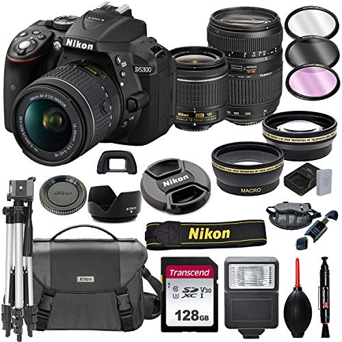 Nikon D5300 DSLR Camera with 18-55mm VR + Tamron 70-300mm + 128GB Card,...