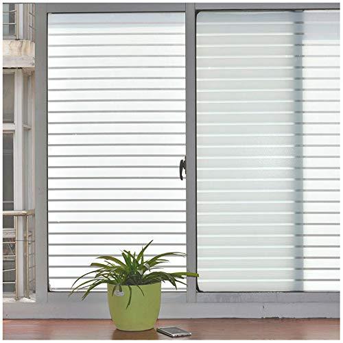 LMKJ Mattierte Familienfensterfolie für Fenster Sichtschutzglas mit weißem Streifen Breitstreifen Bad Schlafzimmer Sichtschutzfolie A98 30x200cm