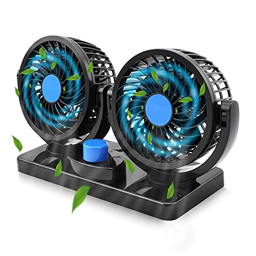 Car Fan 12V, Electric Car Cooling Fan with 360 Degree Rotatable 2 Speed Dual Head Car Auto Cooling Air Circulator Fan for Van SUV RV Boat Auto Vehicles Golf