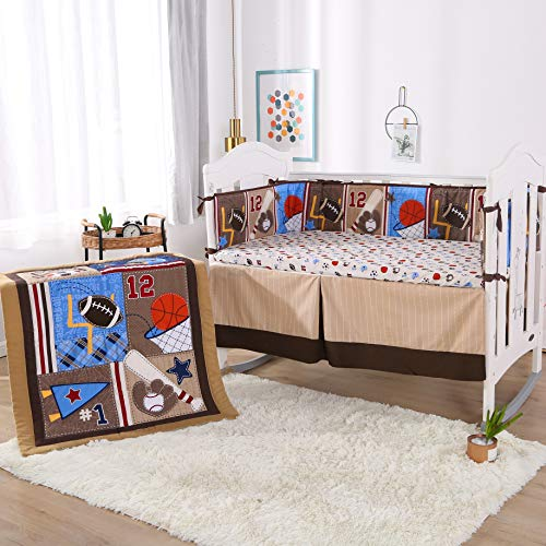 Wowelife Sports Crib Bedding Sets for Boys 7 Piece Brown Baseball Nursery Bedding with 4 Bumpers(Brown-7 Piece)