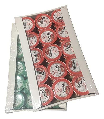30 Monodosis de tomate natural de 25g + 30 monodosis de aceite de oliva virgen extra de 10ml.