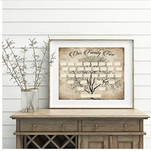 Plantilla de impresión del árbol genealógico Ancestry Wall Art Picture Poster 40x60cm Sin marco