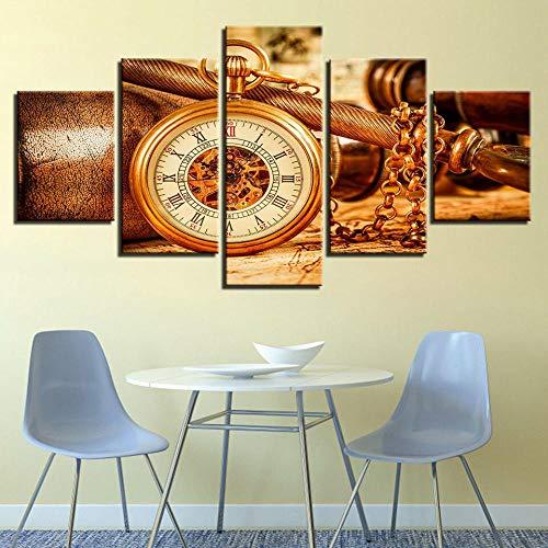 IIIUHU Cuadro en Lienzo Collar Reloj Colgante Vintage Reloj 150x80cm - XXL Impresión Material Tejido no Tejido Artística Imagen Gráfica Decoracion de Pared - 5 Piezas - Listo para Colgar