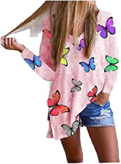 Comaba Womens Casual Loose Blouse Long-Sleeve Floral Spring Split T-Shirt Top