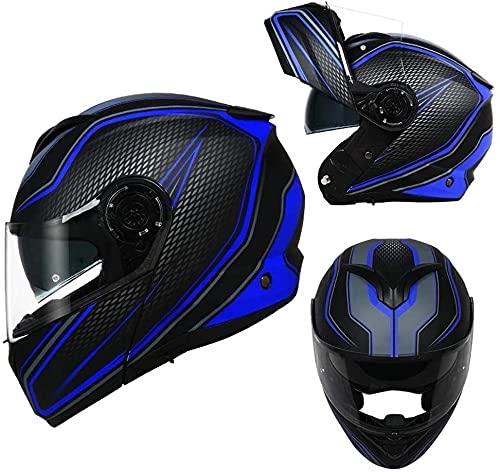 LLDKA Casco Plegable, Casco Modular, máscara Anti-Niebla con Dos Lentes, Compatible con Auriculares Bluetooth Casco de Carreras Plegable (Color : E, Size : M)