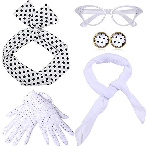 Coucoland 50er Jahre Rockabilly Kostüm Accessoires Damen 1950s Zubehör Set Inklusive Polka Dots Bandana Haarband Ohrringe Handschuhe Katzenaugen Sonnenbrille Chiffon Schal (Weiß)