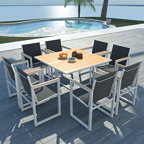 Lechnical Set Comedor de jardín 9 Piezas Comedor Exterior Conjunto de jardín terraza Muebles de jardín Comedor Juego Conjunto de Sillas Aluminio y Superficie Mesa WPC