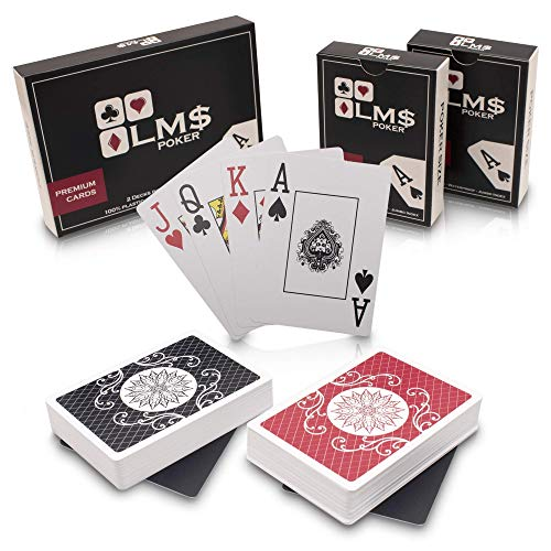 LMS 2 x Premium Profi Pokerkarten aus Plastik mit Cut Cards - wasserfeste hochwertige Spielkarten 54 Blatt im Set mit 2 Decks - Plastikkarten Doppelpack