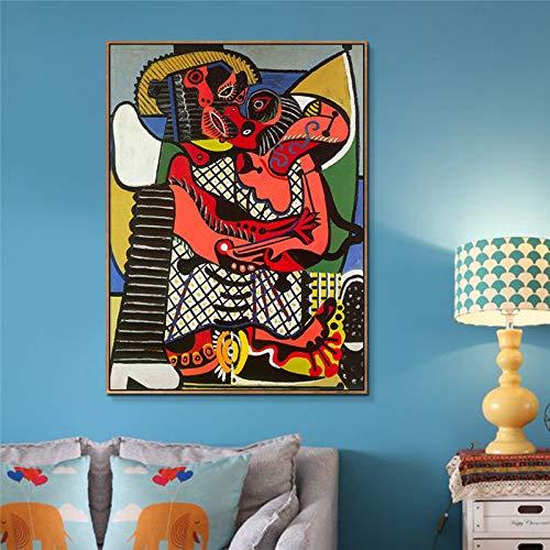 Abstrakte Malerei Der Kuss von Picasso Wandkunst Leinwand Gemälde Poster Drucke Moderne Wandbild für Wohnzimmer Wohnkultur 30X45Cm ohne Rahmen