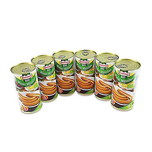 BIO Wiener Würstchen 6er Pack (6 Dosen à 6 Stück / 250 g)
