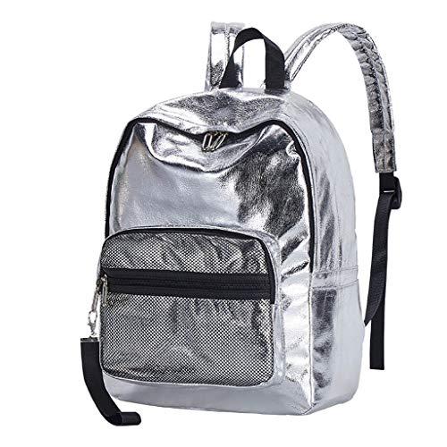 jfhrfged Paar Rucksack Student Freizeittasche Mode Reiserucksack Computer Tasche (Silber)