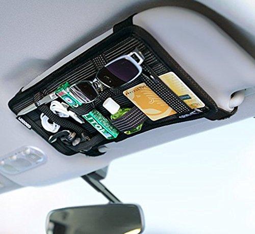 JIAHG Auto Sonnenblende Tasche KFZ Organizer Mehrzweck Anti-Rutsch-elastische Auto Aufbewahrungstasche CD-Tasche für Handys Sonnenbrillen Kopfhörern