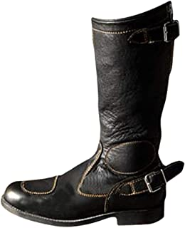 Men's PU Leather Boots Knee High Boots Fashion Knight Boots Retro Rivet Lace-Up Faux Leather Boots Casual Flat Boots Long ...
