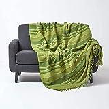 Homescapes große Tagesdecke Morocco, grün, Sofa-Überwurf aus 100prozent Baumwolle, weiche Wohndecke 225 x 255 cm, grün gestreift, mit Fransen