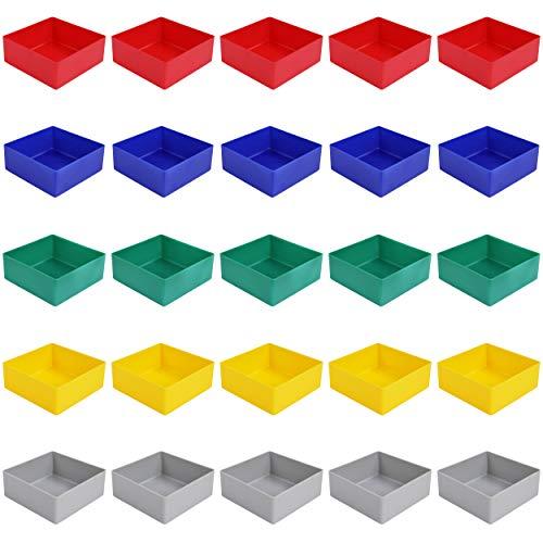 25 Stück Einsatzkasten Serie E40, farblich sortiert, 5 Farben u. 4 Größen, aus Polystyrol, Industrienorm, für Schubladen, Sortimentskästen etc. (E40/2, 99x99x40 mm)