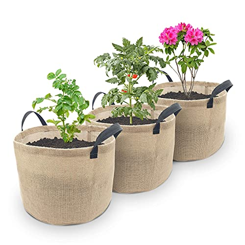 Home & Family Organic Jute Large Grow Bags with Reinforced Handles – 3...