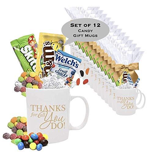 12 Piece Thank You Candy Gift Mugs/Employee Appreciation Gift Mug/Holiday Candy Gift Mug/Teacher Thank You Mug/Office Staff Gift Mug/Business Thank You Mugs