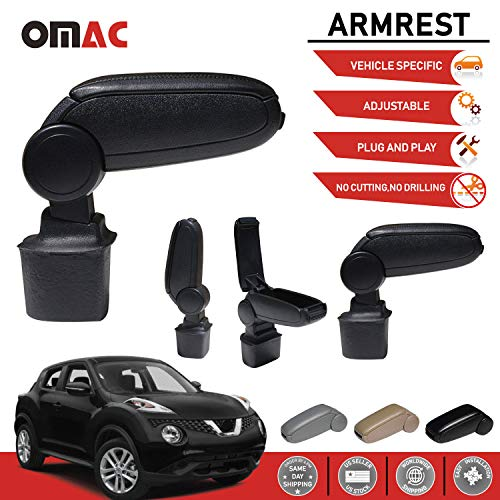 OMAC USA Black Leather Armrest Centre Console Storage Box for Nissan Juke 2011-2017