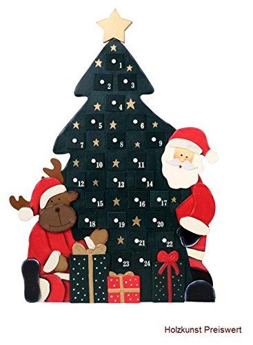 'LD decorazioni di Natale Calendario dell' Avvento 'Albero di Natale in legno per bambini Natale Calendario stesso riempimento