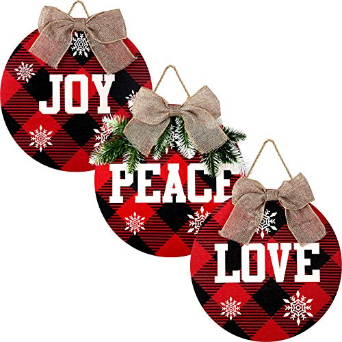 3 Pieces Christmas Hanging Sign Merry Christmas Decorations Peace Joy Love Sign Buffalo Check Plaid Wreath for Front Door Rustic Burlap Wooden Holiday Decor Christmas Indoor Outdoor Decorations